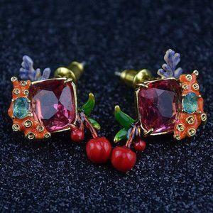 Les Nereides Enamel Ruby Cherry Stud Earrings